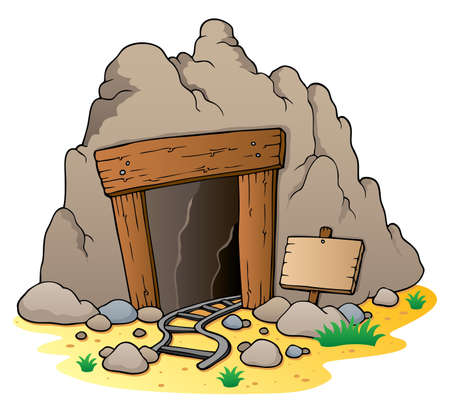 cavern: Cartoon mine entrance  Illustration