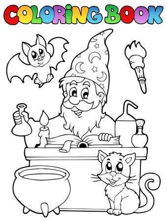 Coloring book alchemist Vector