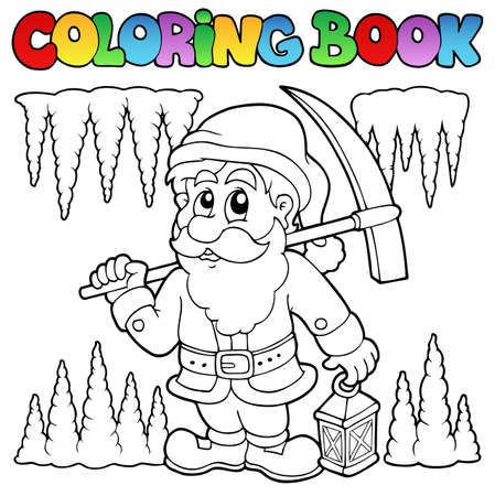 Coloring book cartoon dwarf miner  Vector