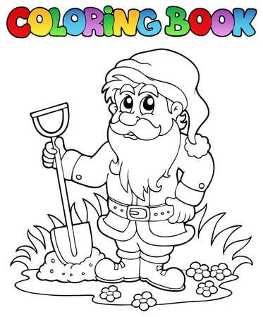 Coloring book cartoon garden dwarf   Vector
