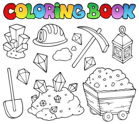 mining: Coloring book mining collection 1 - vector illustration