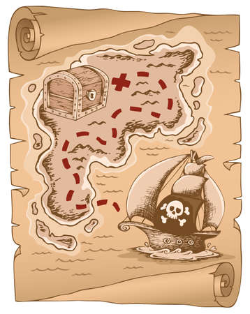 carte tr�sor: Parchemin avec la carte au tr�sor