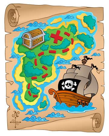 island clipart: Parchment with treasure map