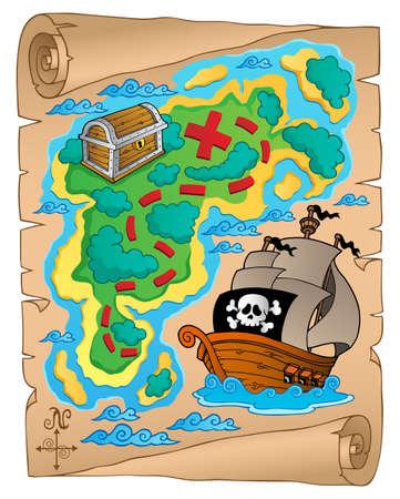 isla del tesoro: Pergamino con el mapa del tesoro