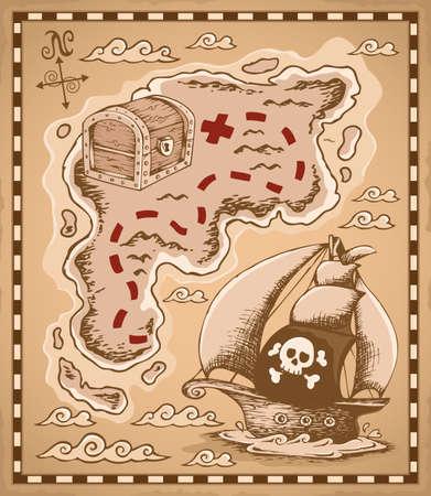 schatkaart: Schatkaart thema Stock Illustratie