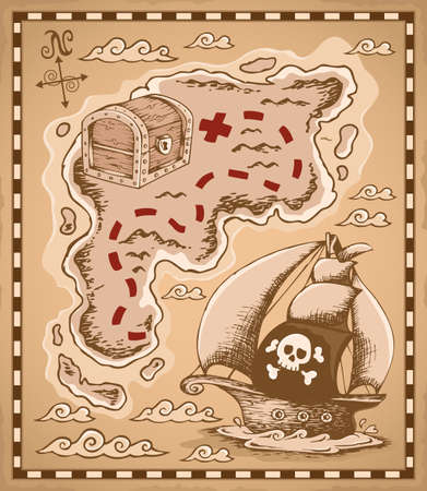 historical ship: Treasure map theme  Illustration