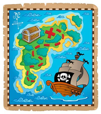 Carte au trésor thème Banque d'images - 13883022