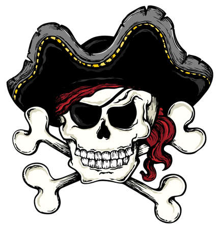 Vintage pirate skull theme  Vector