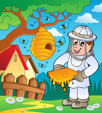 Beekeeper with hive and bees photo