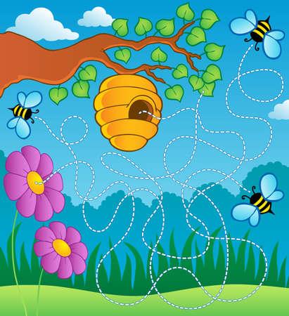 Bee theme maze Stock Photo