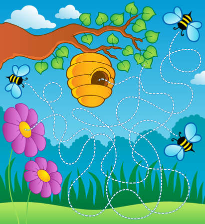 wasp: Bee theme maze Stock Photo