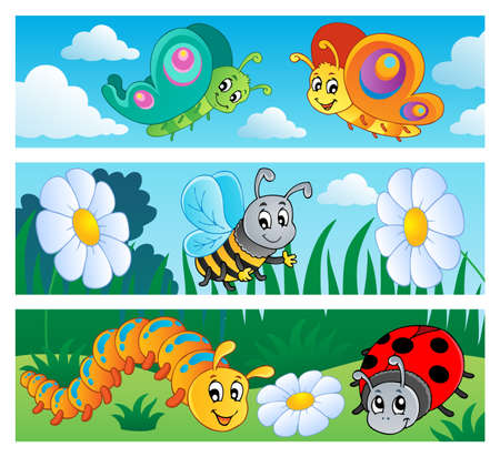 honeybee: Bugs banners collection 1
