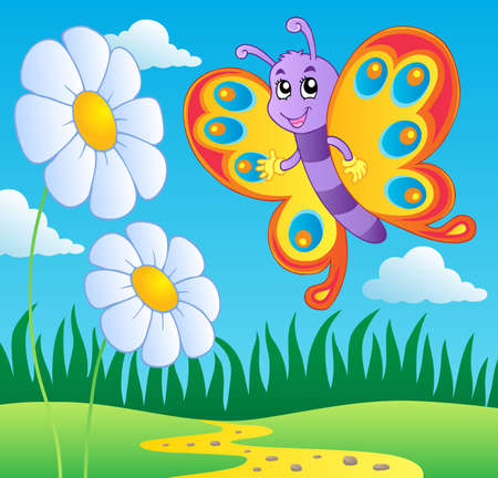 cartoon butterfly: Butterfly theme image 2