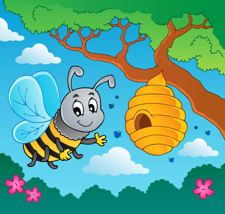 Cartoon bee with hive photo
