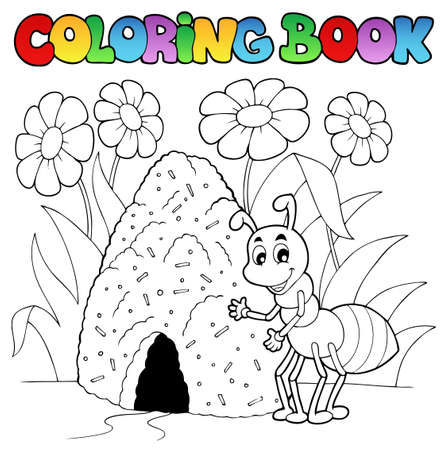 cartoon ant: Coloring book ant near anthill
