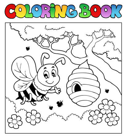 cute bee: Coloring book bugs theme image 4