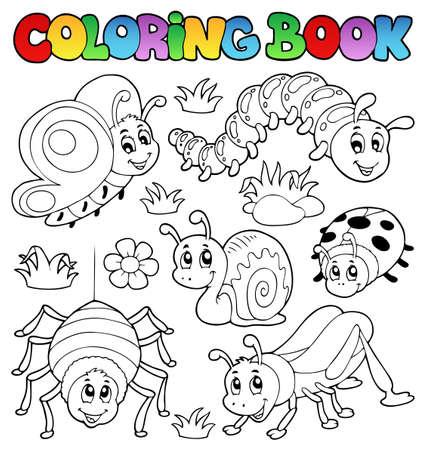 oruga: Colorear los errores del libro lindo 1 Foto de archivo