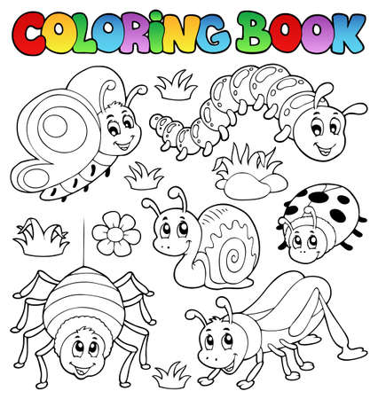 hopper: Coloring book cute bugs 1 Stock Photo
