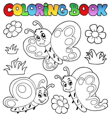 cartoon butterfly: Coloring book with butterflies 2 Stock Photo