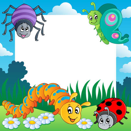 an insect: Frame with bugs theme 1 Stock Photo