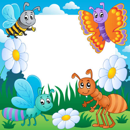 cartoon animal: Frame with bugs theme 3 Stock Photo