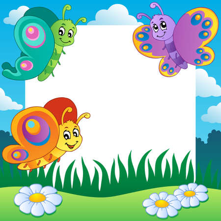 aerial animal: Frame with butterflies theme 1
