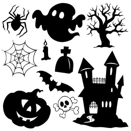 spooky tree: Halloween silhouettes collection 1