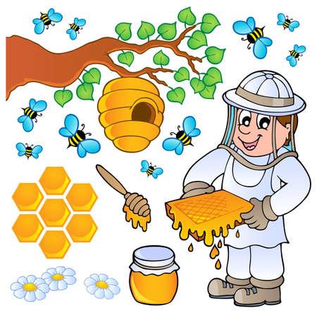 abejas panal: Miel de abeja tema de la colecci�n
