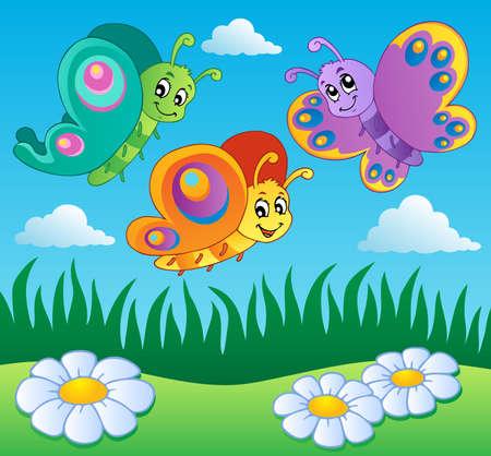 tekening vlinder: Weide met vlinders thema 1