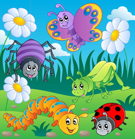cartoon bug: Meadow with various bugs theme 1 - vector illustration  Stock Photo