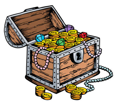 treasure trove: Treasure chest drawing Stock Photo