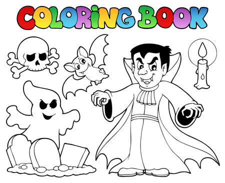 Coloring book Halloween topic 5  illustration  Vector
