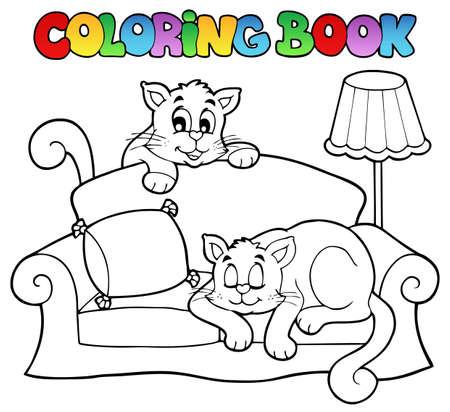 livre � colorier: Coloriage canap� livre avec deux chats illustration