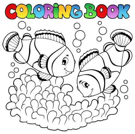 pez payaso: Coloring book dos peces payaso lindo ilustraci�n Vectores