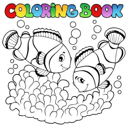 Coloring book two cute clown fishes  illustration  Vector