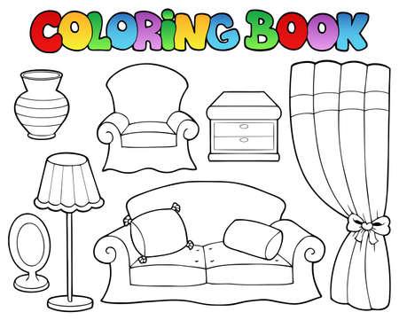 livre � colorier: Coloriage livre mobilier divers 1 illustration