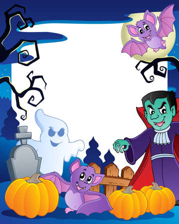 cartoon frame: Frame with Halloween topic 6  illustration  Illustration