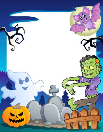 Frame with Halloween topic 7  illustration  Vector