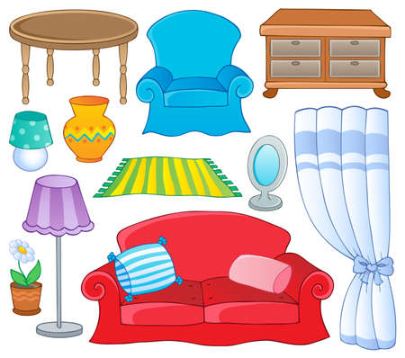 sofa furniture: Furniture theme collection 1  illustration  Illustration