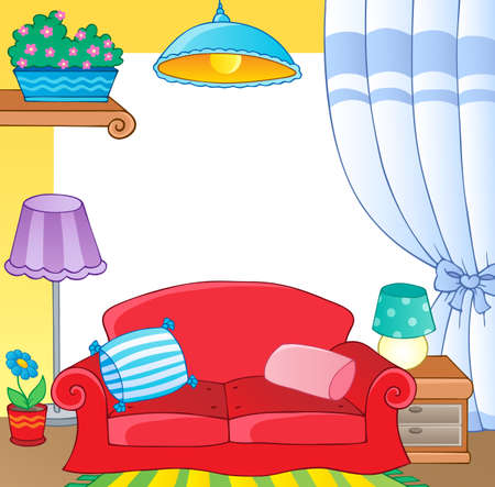 cushy: Furniture theme frame 1 - vector illustration