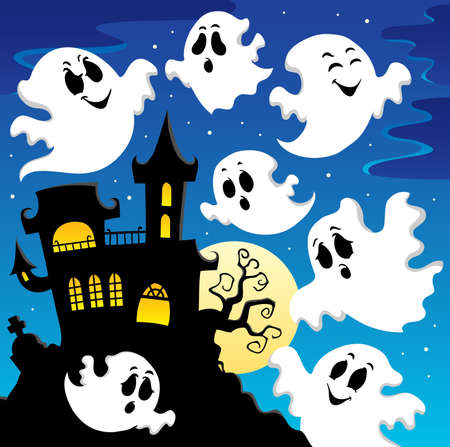 ghost house: Ghost theme image 2  illustration  Illustration