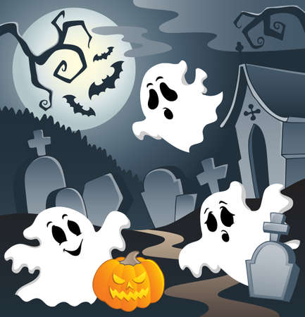 Ghost theme image 3  illustration  Vector
