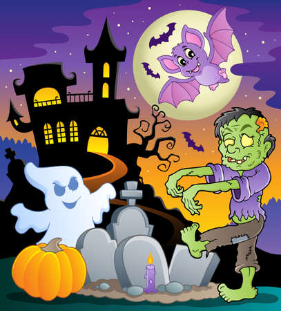 Halloween topic scene 1  illustration  Vector