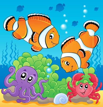 pez payaso: Imagen submarina con el tema de la ilustraci�n 4 Vectores