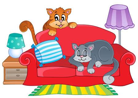 gato caricatura: Un sofá rojo con dos gatos ilustración de dibujos animados