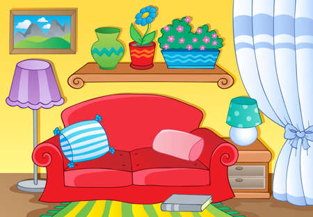 comfy: Room with furniture theme image 1  illustration
