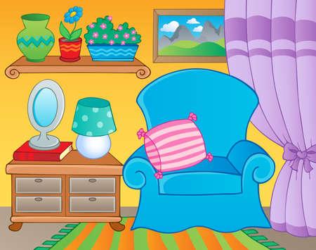 Chambre avec image du thème de meubles 2 - illustration vectorielle