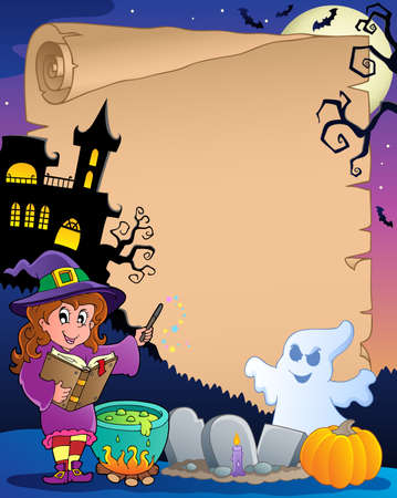 Scene with Halloween parchment 2  illustration  Vector