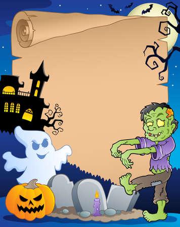 calabaza caricatura: Escena con papel ilustraci�n de Halloween 3 Vectores