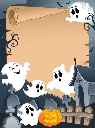 calabaza caricatura: Escena con papel ilustraci�n de Halloween 4